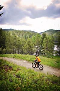 Person Adventure Biking in Cascade Idaho, near Lake Cascade.